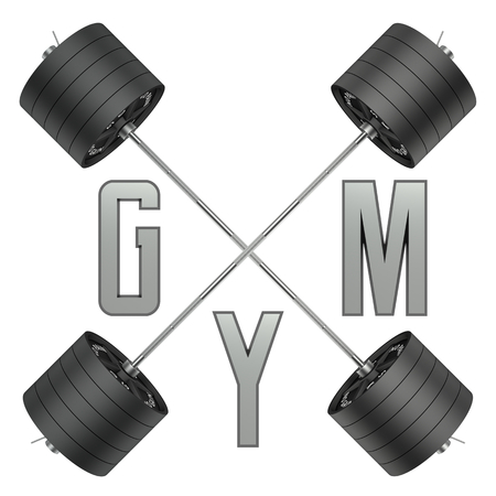 cg: Gym logo in 3d style. CG image. Weights with barbell. For GYM and fitness, shop etc. Stock Photo