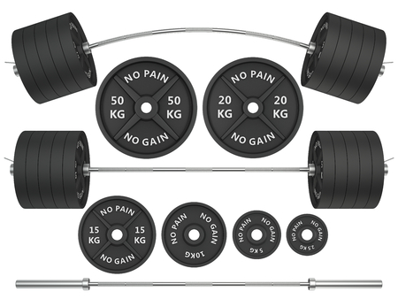 studio shots: 3D Studio shots of a metal barbells and weights isolated on white background. For GYM and fitness