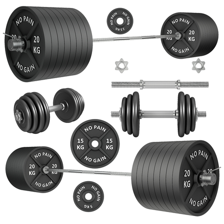 cast iron: 3D Studio shots of a metal barbells and weights isolated on white background. For GYM and fitness