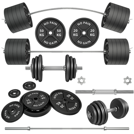 heavy weight: 3D Studio shots of a metal barbells and weights isolated on white background. For GYM and fitness