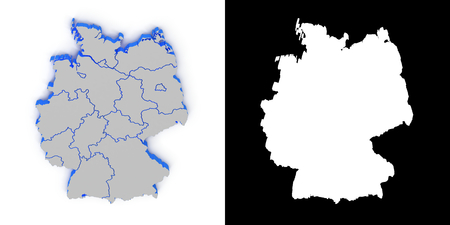 3d cg: Germany 3D map with shadow.. Alpha channel. Perspective. CG.