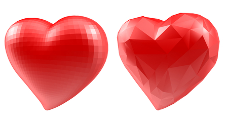 Set of hearts with faceted low-poly geometry effect isolated on white background