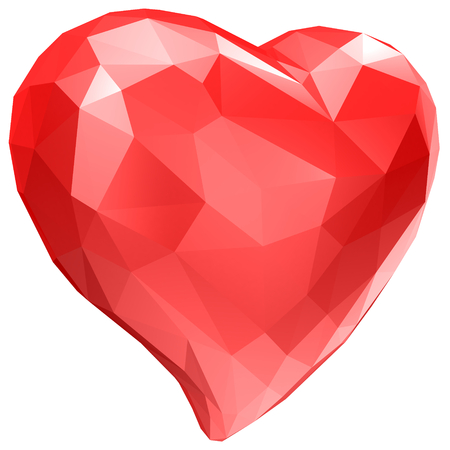 heart with faceted low-poly geometry effect isolated on white background