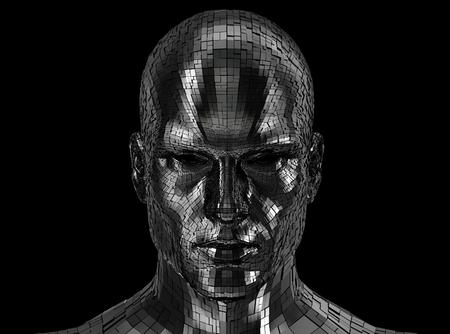 검정색 배경에 고립 된 카메라 앞에서 찾고 로봇 머리