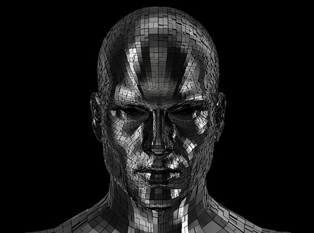 Robot head looking front on camera isolated on a black background