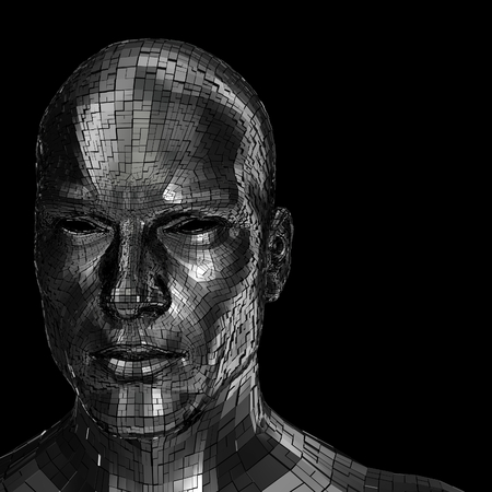 Robot face looking front through the camera isolated on a black background Imagens