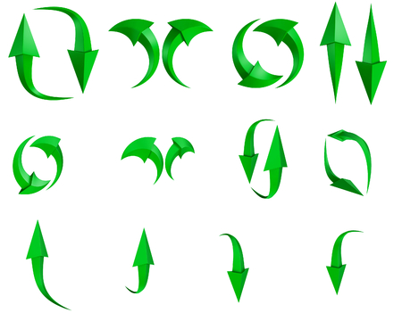 Collection of arrow stickers. CG illustration. Isolated on white background Imagens