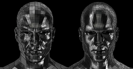 Robots faces looking front on camera isolated on a black background