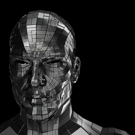 human head: Robot face looking front through the camera isolated on a black background Stock Photo