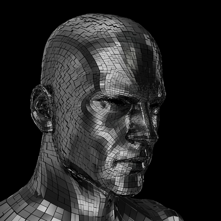 chrome man: Robots face looking sideway through the camera isolated on a black background Stock Photo