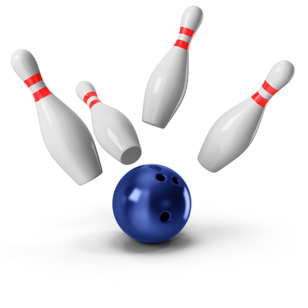 3d Bowling Ball crashing into the pins on white background Imagens