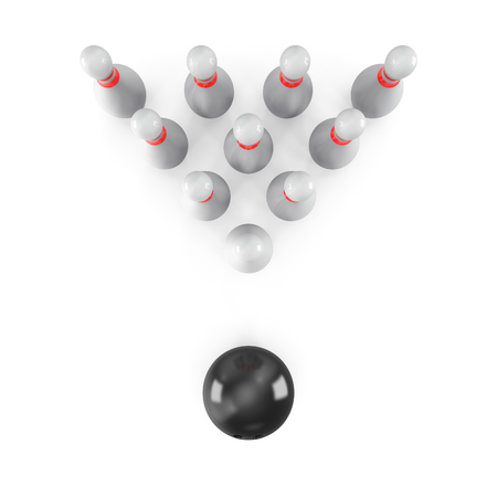 Bowling Ball with pins isolated on white background. With shadow. Top view