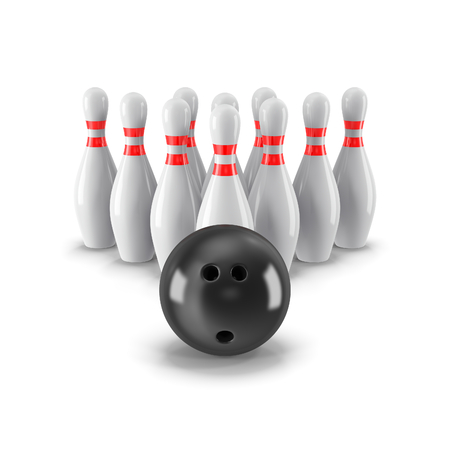 Pins with bowling ball on front side. Isolated on white background with shadow. 3d render. For logo, advertising, wallpaper, print etc.