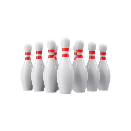 abreast: Bowling pins with perspective. For logo, wallpaper, print etc.