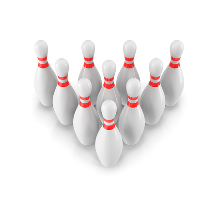 Group of Bowling Pins Isolated on White Background with shadow. 3D rendering. 3d render. For , advertising, wallpaper, print etc. Perspective view Imagens