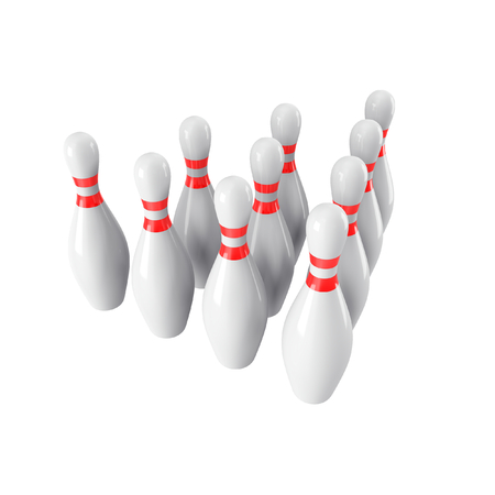 view wallpaper: Group of Bowling Pins Isolated on White Background without shadow. 3D rendering. 3d render. For , advertising, wallpaper, print etc. side  view with perspective