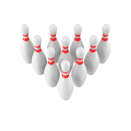 Group of Bowling Pins Isolated on White Background without shadow. 3D rendering. 3d render. For , advertising, wallpaper, print etc. Perspective view Imagens