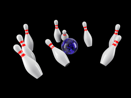Bowling Ball crashing into the pins isolated on black background. Without shadow. Perspective view.