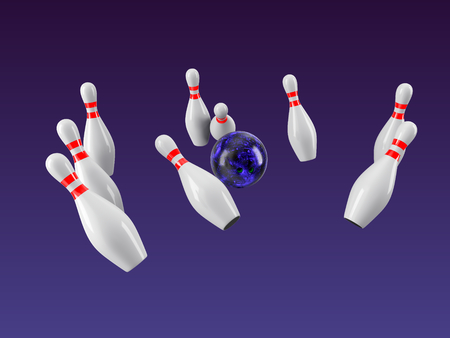 Bowling Ball crashing into the pins isolated on purple gradient background. Without shadow. Perspective view.