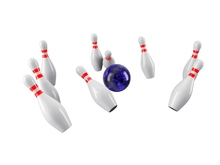 Bowling Ball crashing into the pins isolated on white background.  Without shadow. Perspective view. Imagens