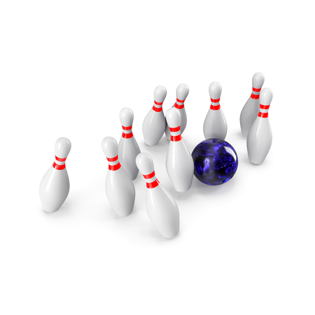 destroying the competition: Bowling Ball crashing into the pins isolated on white background. With shadow. Perspective view. For logo, advertising, wallpaper, print etc. Stock Photo