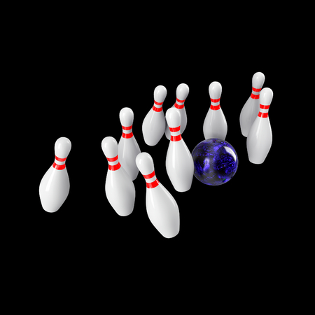 Bowling Ball crashing into the pins isolated on black background. Without shadow. Perspective view. For logo, advertising, wallpaper, print etc.