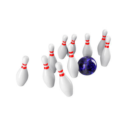 destroying the competition: Bowling Ball crashing into the pins isolated on white background.  Without shadow. Perspective view. For , advertising, wallpaper, print etc. Stock Photo