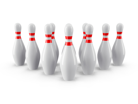 abreast: Group of Bowling Pins Isolated on White Background with shadow. 3D rendering. For  , advertising, wallpaper, print etc. Front view with perspective