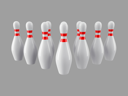 Group of Bowling Pins Isolated on gray background without shadow. 3D rendering. For  , advertising, wallpaper, print etc. Front view with perspective