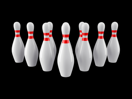 Group of Bowling Pins Isolated on black background without shadow. 3D rendering. For  , advertising, wallpaper, print etc. Front view with perspective Imagens