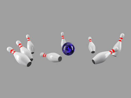 destroying the competition: Bowling Ball crashing into the pins isolated on grey background. Without shadow. Perspective view. For , advertising, wallpaper, print etc.