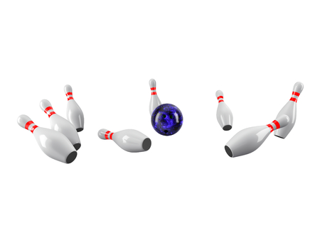 Bowling Ball crashing into the pins isolated on white background. Without shadow. Perspective view. For logo, advertising, wallpaper, print etc. Imagens