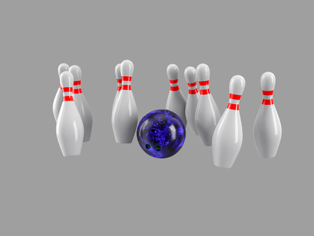 destroying the competition: Bowling Ball crashing into the pins isolated on grey background. Without shadow. Perspective view. For logo, advertising, wallpaper, print etc. Stock Photo