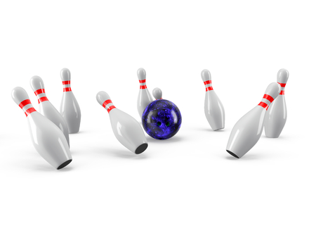 Bowling Ball crashing into the pins isolated on white background. With shadow. Perspective view. For logo, advertising, wallpaper, print etc. Imagens
