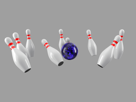Bowling Ball crashing into the pins isolated on grey background. Without shadow. Perspective view. For logo, advertising, wallpaper, print etc. Imagens