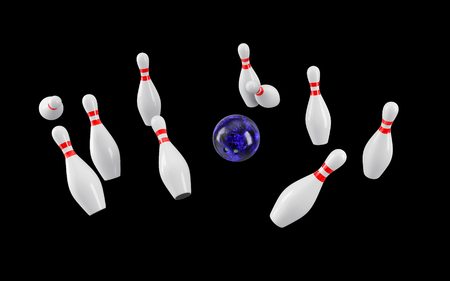 Bowling Ball crashing into the pins isolated on black background. Without shadow. Perspective view. For  , advertising, wallpaper, print etc.
