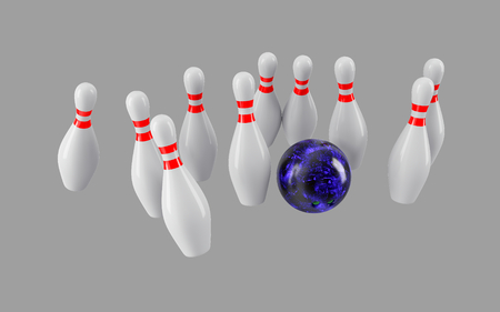 destroying the competition: Bowling Ball crashing into the pins isolated on grey background. Without shadow. Perspective view. For  advertising, wallpaper, print etc. Stock Photo