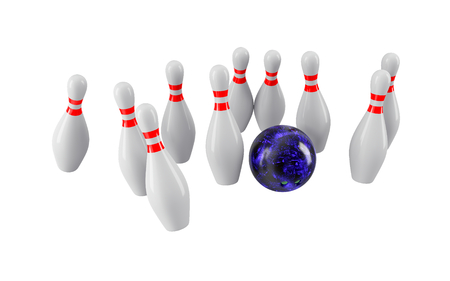 Bowling Ball crashing into the pins isolated on white background. Without shadow. Perspective view. For icon , advertising, wallpaper, print etc.