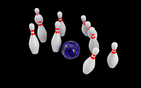 destroying the competition: Bowling Ball crashing into the pins isolated on black background. Without shadow. Perspective view. For icon , advertising, wallpaper, print etc. Stock Photo