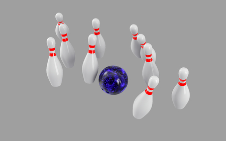 Bowling Ball crashing into the pins isolated on grey background. Without shadow. Perspective view. For icon , advertising, wallpaper, print etc.