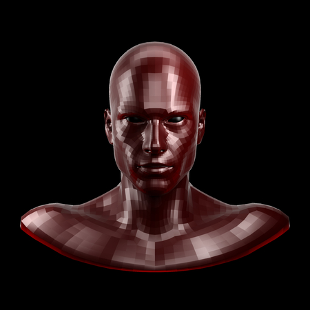 3D rendering. Faceted red robot face with black eyes looking front on camera.
