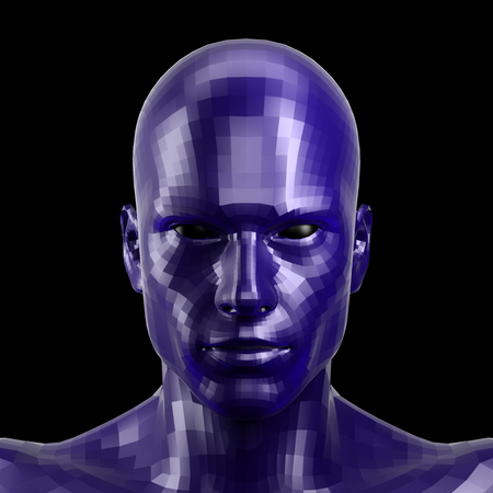 3D rendering. Faceted blue robot face with black eyes looking front on camera.