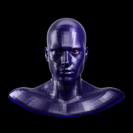 3D rendering. Faceted blue robot face with red eyes looking front on camera. Stock Photo