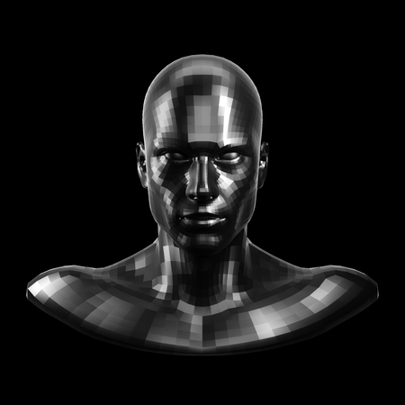 3D rendering. Faceted black robot face with black eyes looking front on camera. Imagens