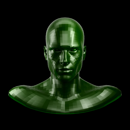 3D rendering. Faceted green robot face with green eyes looking front on camera. Stock Photo