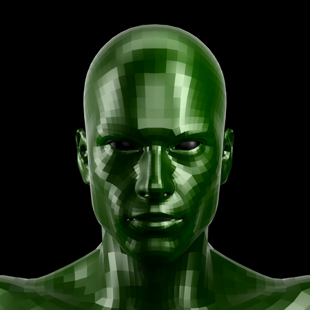 3D rendering. Faceted green robot face with black eyes looking front on camera.