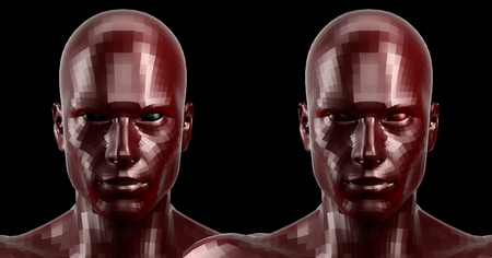 technolgy: 3d rendering. Two faceted red android heads looking front on camera