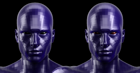 technolgy: 3d rendering. Two faceted blue android heads looking front on camera