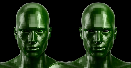 3d rendering. Two faceted green heads looking front on camera