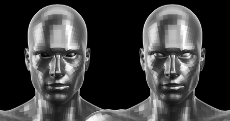 technolgy: 3d rendering. Two silver faceted android heads looking front on camera Stock Photo